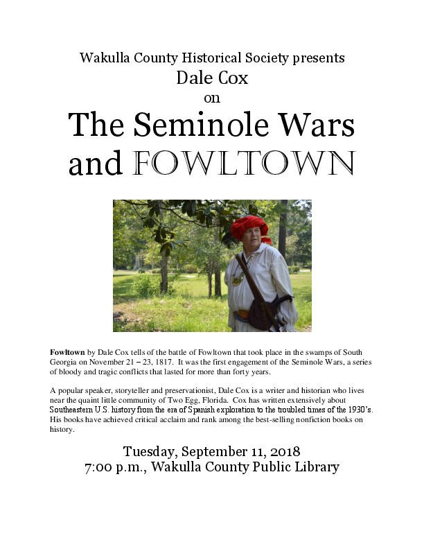 Flyer for Dale Cox Program - September 2018