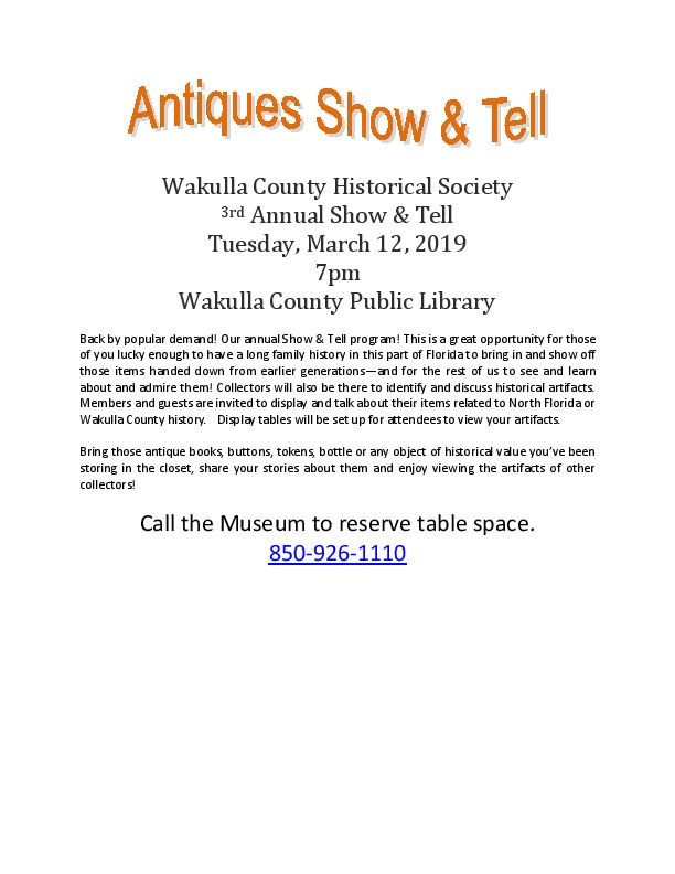 Annual Show and Tell March 12, 2019