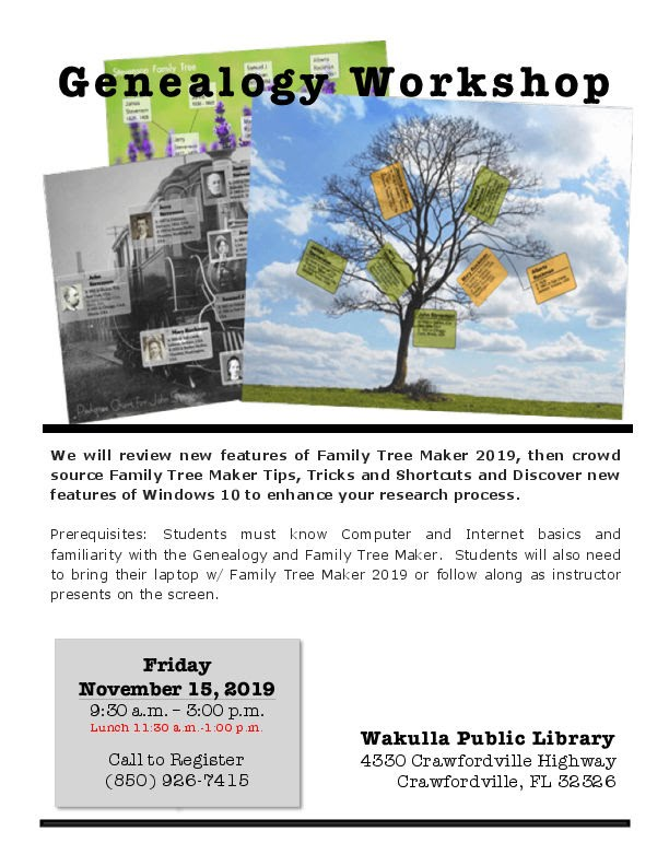 Genealogy Workshop flyer