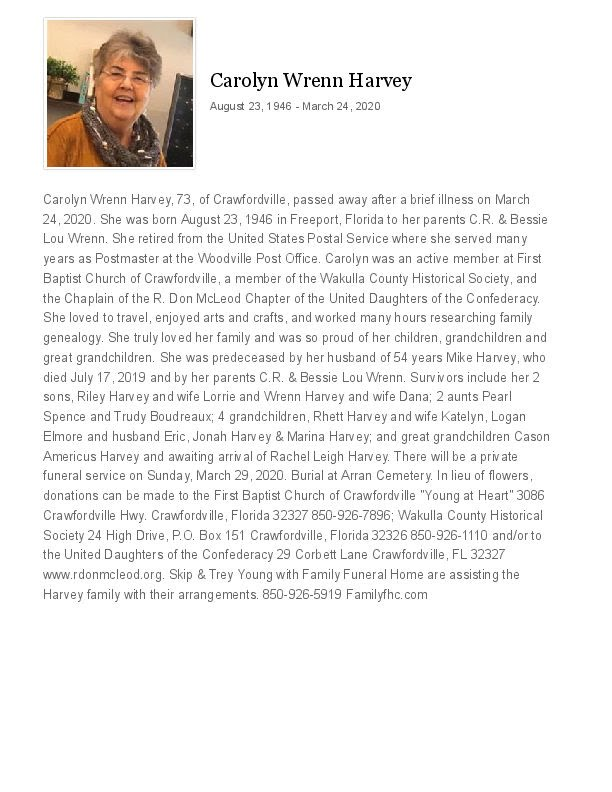 Carolyn Wrenn Harvey Obituary